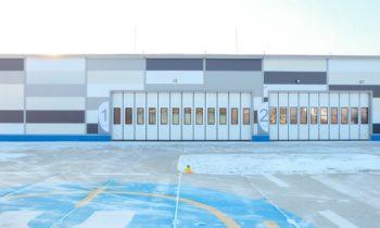 Реализованные объекты: промышленные складные ворота для ангара хранения летной техники
